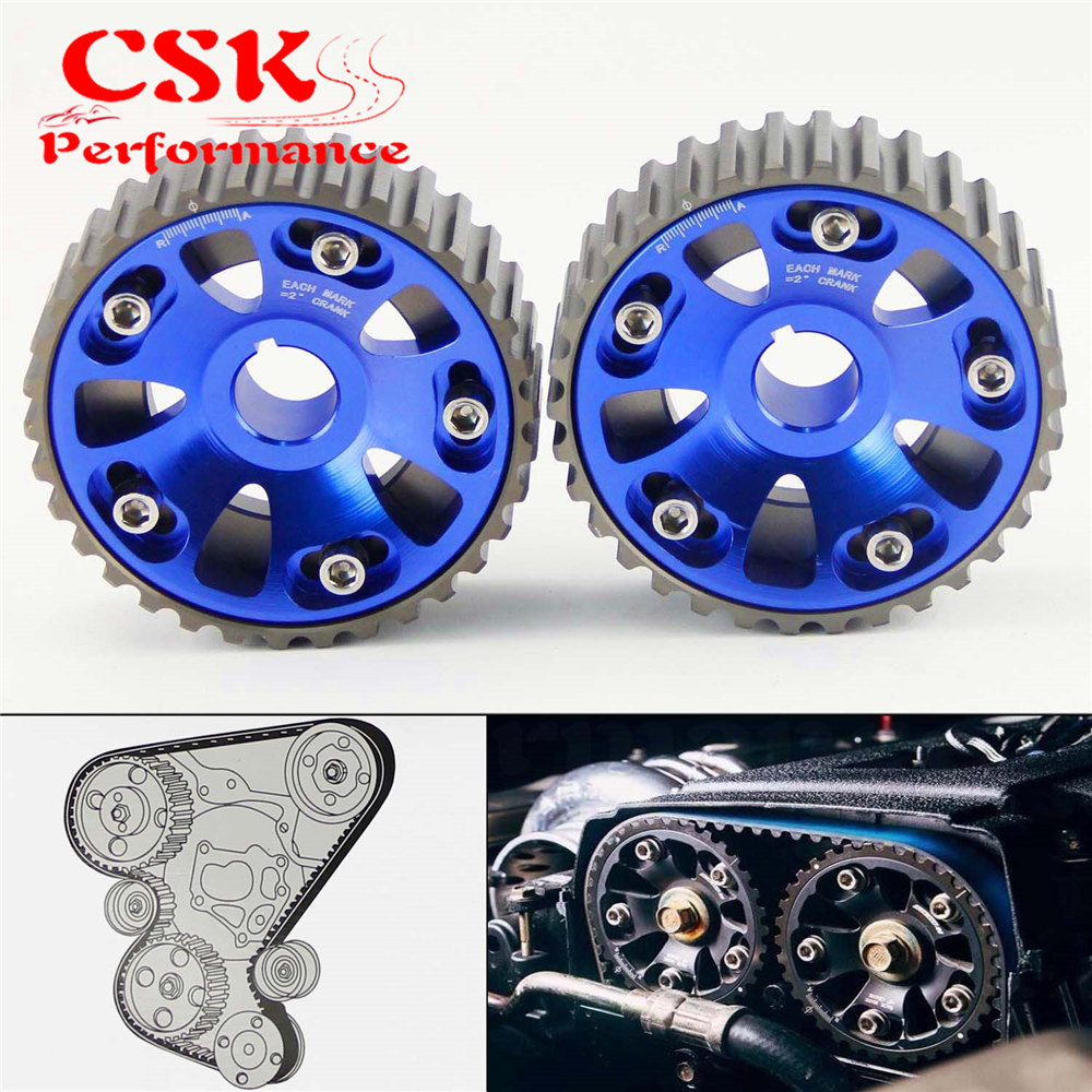 Blue CAM GEARS Pulley Kit FOR <font><b>Honda</b></font> <font><b>CIVIC</b></font> <font><b>B16A</b></font> B18C INTEGRA DC2 88-00 + 2PCS image