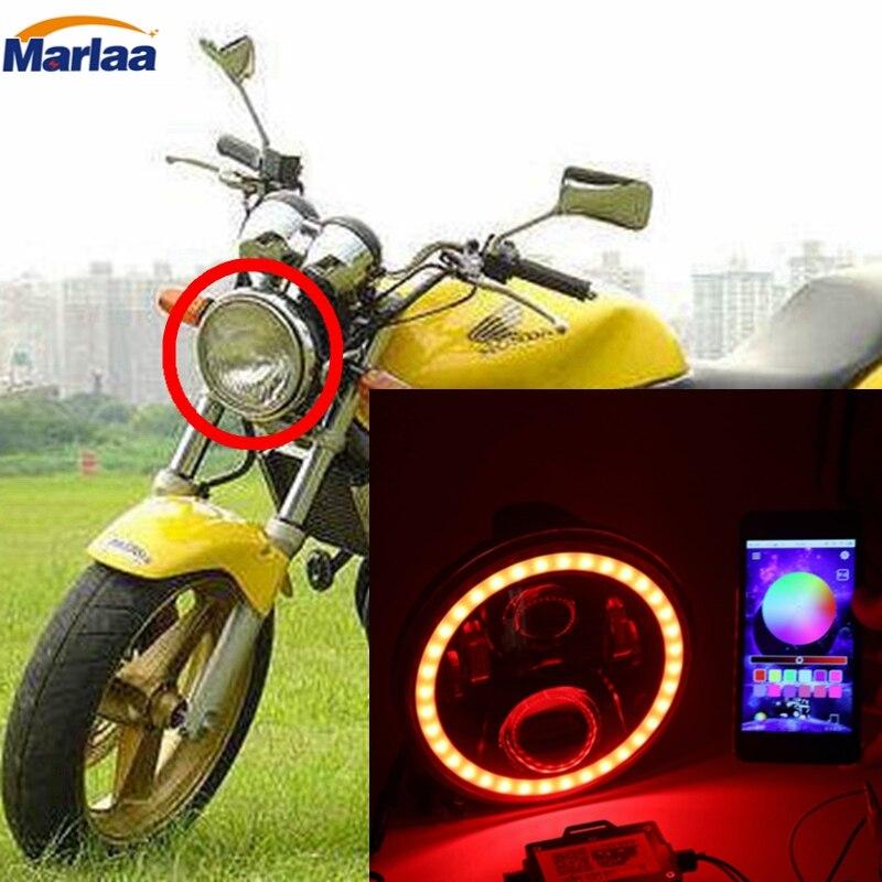 7 дюймов LED Фары для автомобиля RGB Halo Кольцо Многоцветный DRL Bluetooth Дистанционное управление для Honda CB400 CB500 CB1300 Hornet 250 600 900 втэ