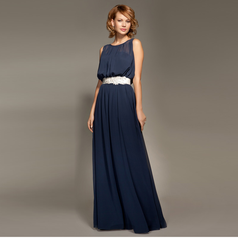 Popular Navy Blue Chiffon Bridesmaid Dress-Buy Cheap Navy Blue ...