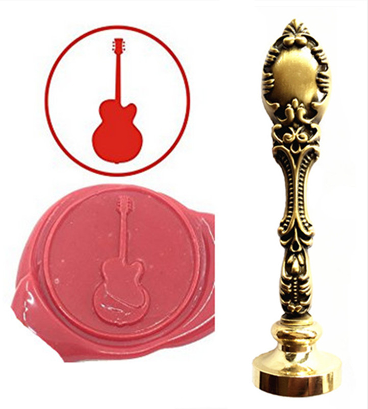 Guitar Music Instrument Vintage Custom Picture Logo Luxury Wax Seal Sealing Stamp Brass Peacock Metal Handle Gift Set