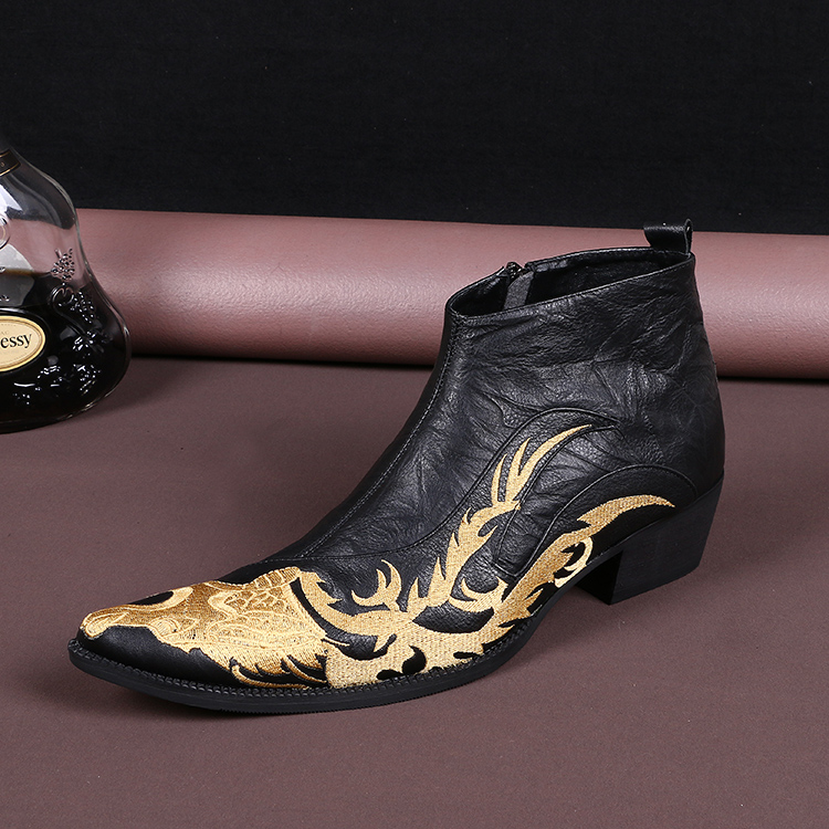 Free shipping spring and autumn Genuine Leather Mixed Colors Mens Casual Boots Fashion Motorcycle Ankle Boots for Men embroiderFree shipping spring and autumn Genuine Leather Mixed Colors Mens Casual Boots Fashion Motorcycle Ankle Boots for Men embroider