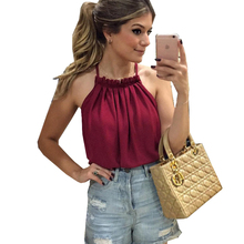 Hot Sale New Summer Woman Blouses Shirts White Collar Chiffon Strapless Leisure Polyester Camis Ruched Solid Top Fashion Red A50