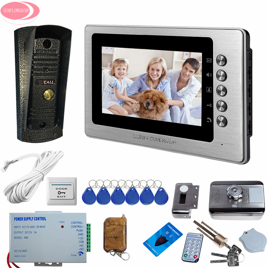 7 Home Color Video Door Phone Intercom System 1 Silver Color Monitor Doorbell With Waterproof Metal Camera + Electric Lock kit intercom system for home 7inch color ccd camera video intercom with electric lock door phone intercom video bell ip65 waterproof