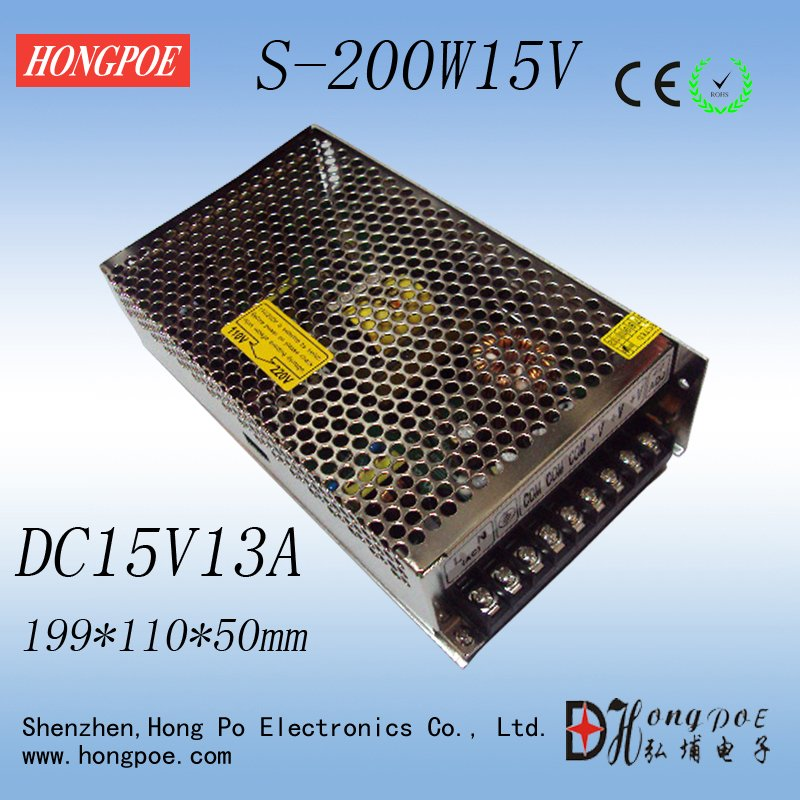 Best quality 15V 13A 200W Switching Power Supply Driver for LED Strip AC 100-240V Input to DC 15V free shipping 1200w 12v 100a adjustable 220v input single output switching power supply for led strip light ac to dc