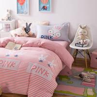 漫画のウサギの寝具セットロマンチックなピンクストライプ布団カバー100%綿の女王フル4/5ピースシーツ枕十代の若