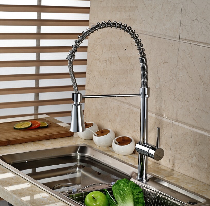 ФОТО Polished Chrome Deck Mount Kitchen Sink Mixer Taps One Hole with Hot and Cold Water Hose Kitchen Faucet