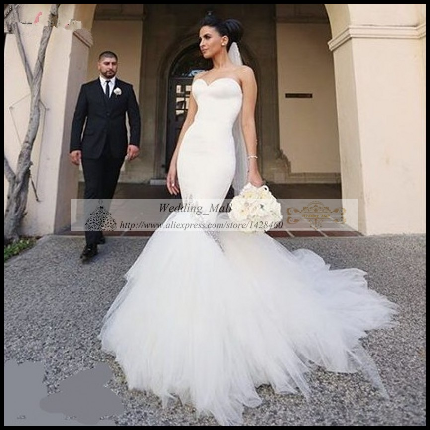 Elegant Korean Tulle Wedding Dress 2017 White Fishtail Bride Gowns ...