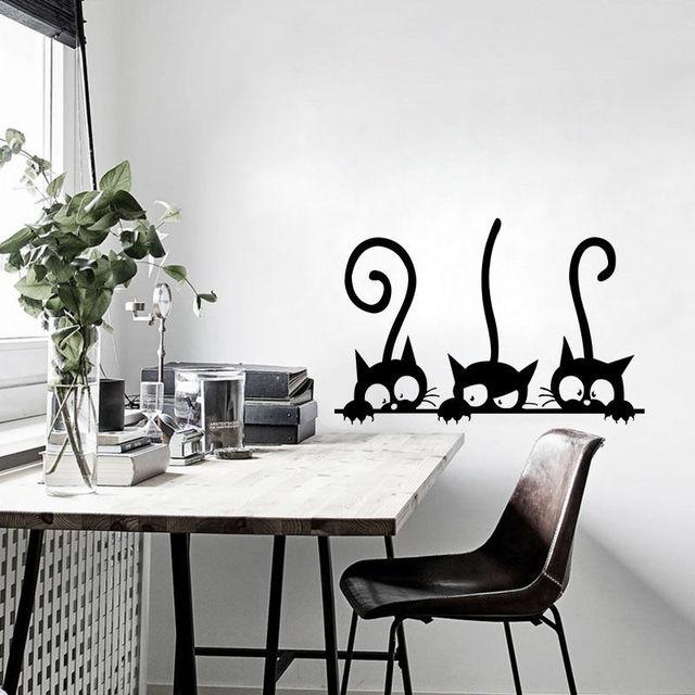 2017 New Lovely Three Black Cat DIY Wall Stickers Living Room Decor ...
