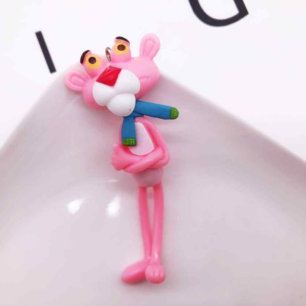 Lindo llavero de dibujos animados Pantera Rosa muñeca de vinilo bolso de coche llavero Regalo de Cumpleaños creativo