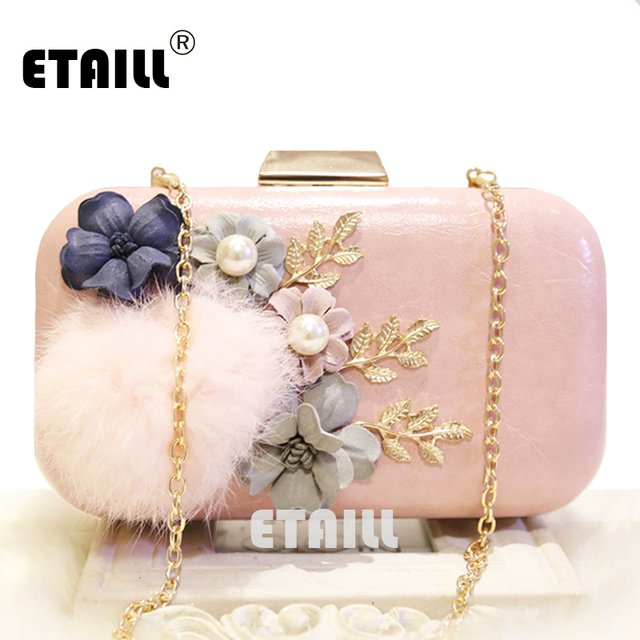 ETAILL Cute Fur Ball Appliques Flower Evening Bags Beaded Classic Box  Clutch Bag with Golden Chain Dinner Hand Cross Body Bags 9893c9faede33