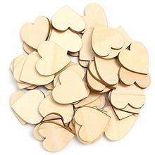 50pcs/lot Heart Shape Wooden Chips Birthday Party Wedding Decorative Supplies Christmas Valentines Day DIY Handmade Accessories