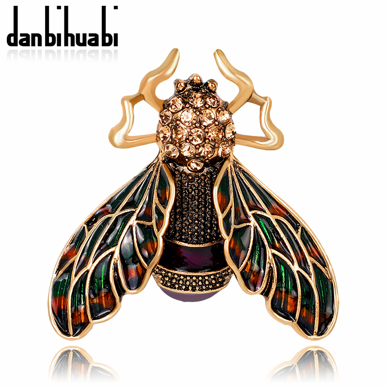 danbihuabi Antique Gold Color Brown Cicada Brooch Enamel Corsage Hats Scarf Clips Accessories Brooches For Woman Party AG080-A
