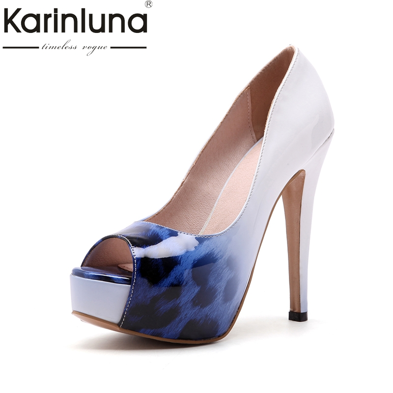 KarinLuna 2018 fashion large size 33-44 slip on thin high Heels women shoes woman platform peep toe Party wedding Pump lapolaka 2018 high quality large size 33 48 slip on thin high heels peep toe shoes woman platform party wedding pump