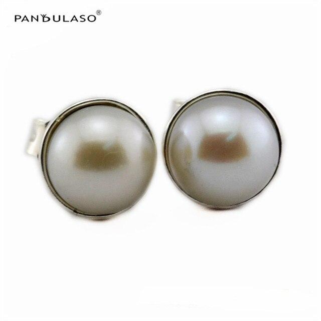 Elegante Belleza de La Perla Stud Pendientes 2016 Nuevo Original 925 Pendientes de Plata Para Las Mujeres de Joyería de Moda de Estilo de Otoño