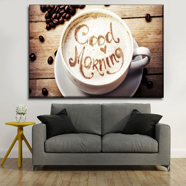 Cafe Wall Decorative 1 Piece Good Morning White Milk Coffee Canvas Painting Modern HD Printing Type Poster