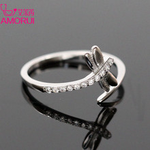 AMORUI Silver Color Opening CZ Stone Engagement Ring Women Jewelry Ladies Copper Zircon Dragonfly Wedding Rings for Women Gift