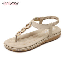 цены ALL  YIXIE Fashion Leather Women Sandals Slides Bohemian Diamond Slippers Woman Flats Flip Flops Shoes Summer Beach Sandals