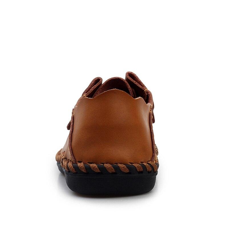 Mocassins Mode Respirant D'été Chaussures marron À Conduite La Espadrilles Marque 2018 Leahter Main Brown De Casual dark Hommes Noir wPqOO