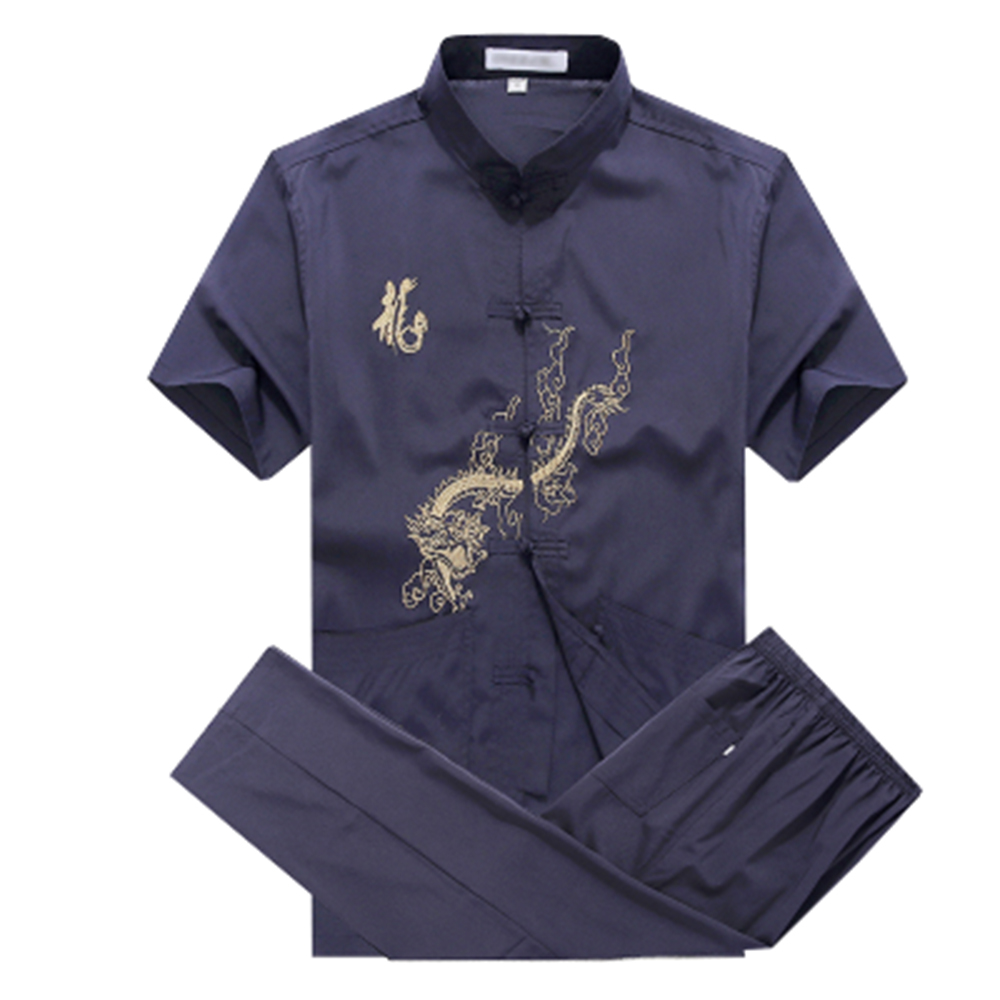 New 4 Colors Mens Short Sleeve Martial Arts Kung Fu Uniform Chinese Style Tang Suit With Dragon Pattern Taichi Clothing
