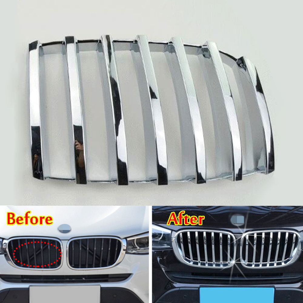 BBQ@FUKA Exterior Moldings ABS Chrome Front Grill Grille Mesh Cover Trim Insert For 2008-2013 BMW X5 E70 Car Styling Accessories for nissan teana altima 2013 2014 2015 abs chrome front bottom grill cover grilles trim cover car styling accessories