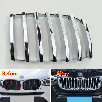 BBQ@FUKA Exterior Moldings ABS Chrome Front Grill Grille Mesh Cover Trim Insert For 2008-2013 BMW X5 E70 Car Styling Accessories