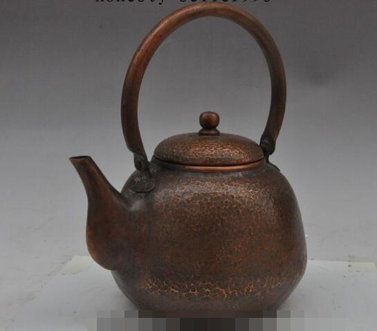 S01985 9 oude chinese pure bronzen koperen Hand gesneden Waterkoker Theepot Thee makers - 5