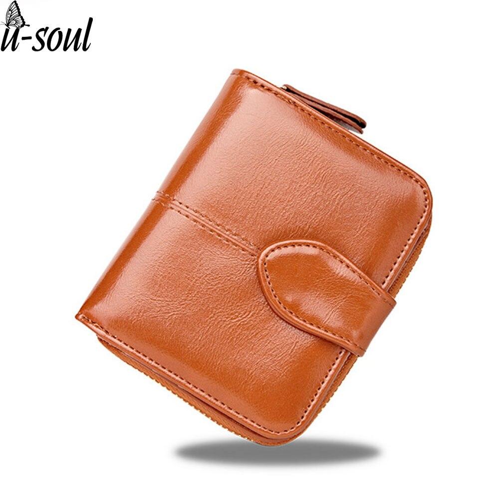 Women Wallet Short ID Card Holder Pu Retro Coin Fashion Leather Wallet Female Oil Lock Small puRSE Bolsa A3354 Кошелёк