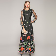 Maxi Dress Summer Women's Fashion 2019 New Round Neck Perspective Long Sleeved Embroidered Flowers Slim A-Line Elegant Dress XXL цена