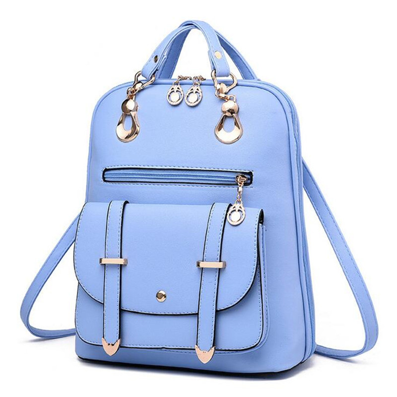 2016 New Fashion Women backpack Girls Leather School Bag Women Casual Style Shoulder Bags Sweet Color