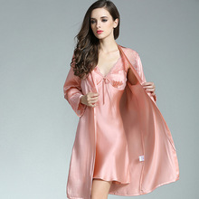100% Silkworn Silk Women Sleeping Robe Nightdress Two-Piece Sets Summer Sexy Real Sleepwear Female Lace Embroidery P9925