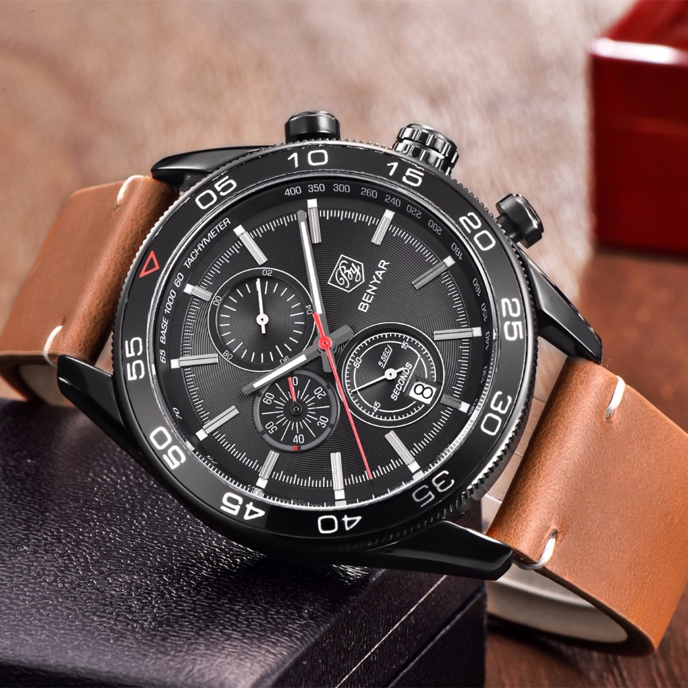 BENYAR Fashion Business Men Luxury Brand Quartz Watch Mens Waterproof Sport Chronograph Watches relogio masculino цена и фото