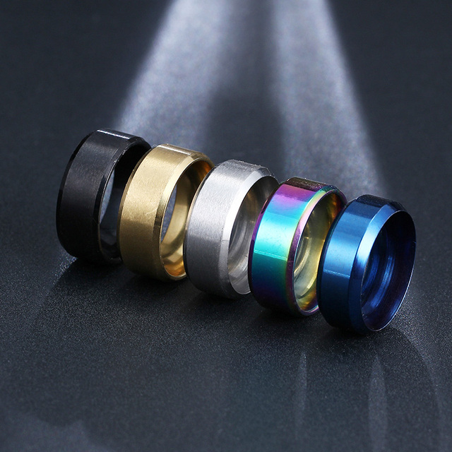 CACANA Titanium Stainless Steel Rings For Women Refinement Black Gold Silver Blu
