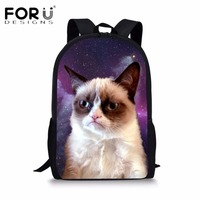 FORUDESIGNS Cute 3D Backpack Women Galaxy Animal Cat Canvas Backpacks For Teenage Girls School Bagpack Student