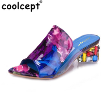 Coolcept  Women Sandals Summer Slippers Shoes Women Peep Toe High Heels Fashion Rhinestone Shoes New Color  Footwear Size 35-41