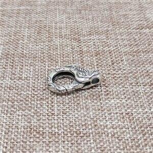 Image 4 - 925 Sterling Silver Grande Moschettone con Inciso Foglia per la Collana Del Braccialetto