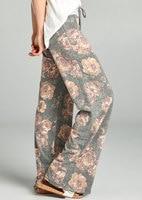 2017women's בגדי נשים בהדפס פרחוני מודפס מכנסיים רגל רחבים מכנסיים מזדמנים רופפים חוף הקיץ ארוך מכנסיים מותניים למתוח מכנסיים
