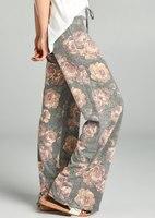 2017women's giyim baskılı geniş bacak pantolon Çiçek Baskı Kadın Pantolon Gevşek Rahat Plaj Yaz Uzun Pantolon streç bel pantolon