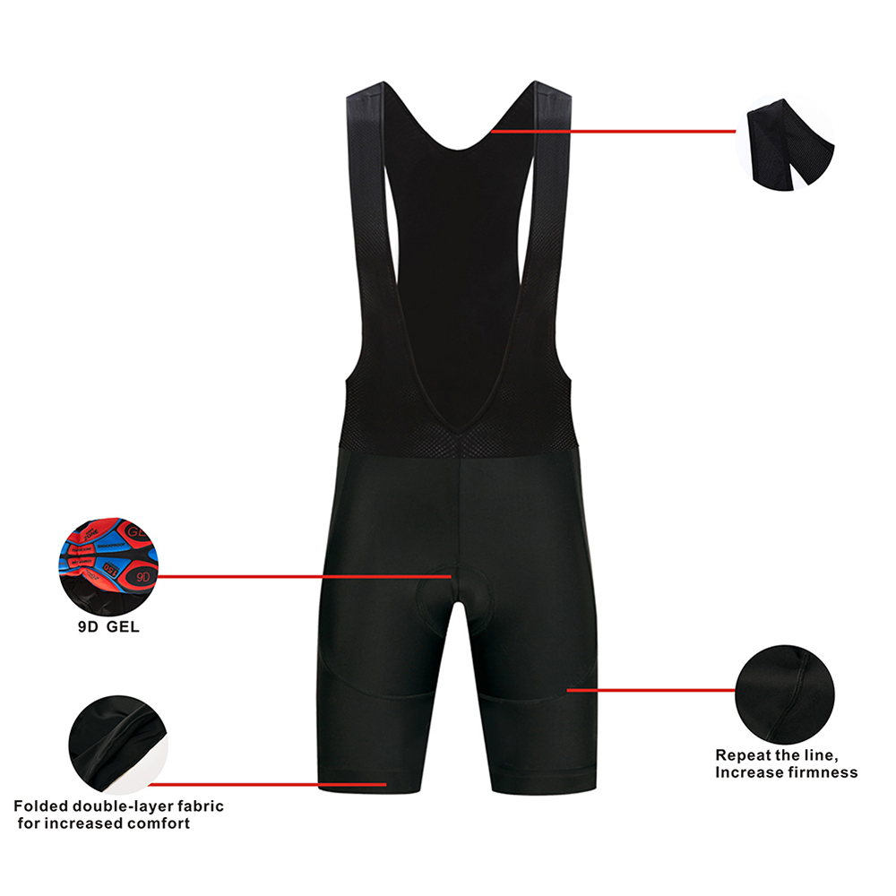 Black Bicycle <font><b>Bib</b></font> <font><b>Short</b></font> Men Outdoor Wear Bike Bicycle Cycling 9D Padded Riding <font><b>Bib</b></font> <font><b>Shorts</b></font> Cycling <font><b>Bib</b></font> <font><b>Shorts</b></font> image