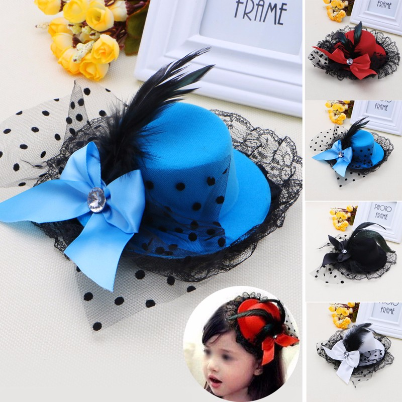 Women Girl Bow Hair Clip Lace Feather Mini Top Hat Fascinator Fancy Party Dress shanfu women zebra stripe sinamay fascinator feather headband fashion lady hair accessories blue sfc12441
