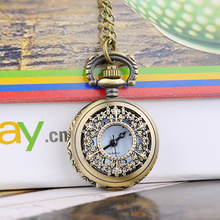 Green Monday FANALA Men Pocket Watch Retro Style Bronz Copper Quartz Pocket Watch Hollow Out Retro Pendant Chain Necklace Watches Kid Gift