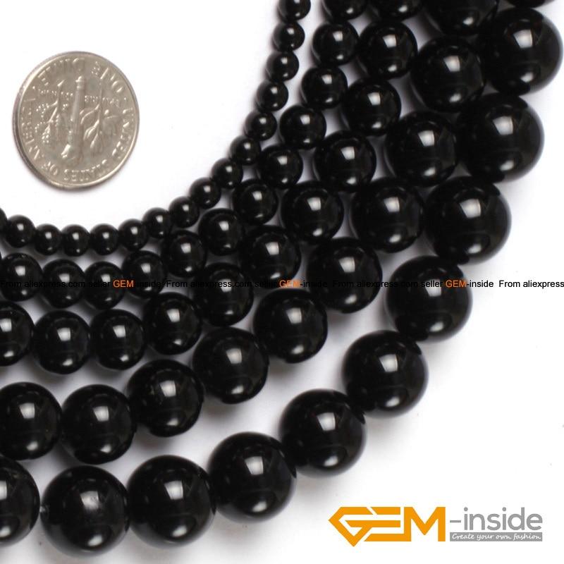 Round black Agate beads strand 15