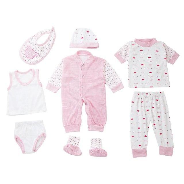 New Infant Baby Clothing Set Trendy Newborn Baby Clothes 8Pcs Suit Jumpsuit+Pants+Tops+Waistcoat+Shorts+Caps+Shoes