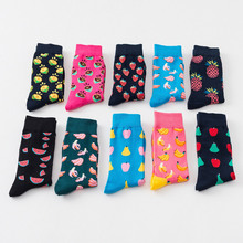 New casual cotton socks tide brand fruit banana men and women personality in the tube