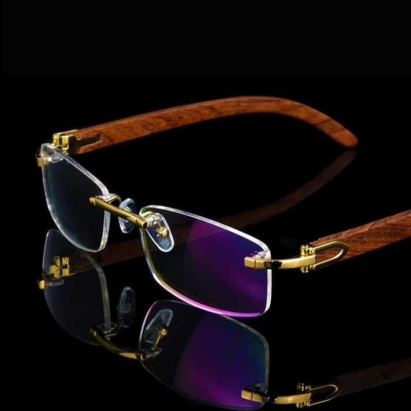 Rimless Wooden Gold Glasses Frame Men Light Weight Optical Rim Eyeglasses frames brand designer Prescription Myopia spectacles-in Men's Eyewear Frames from Apparel Accessories on AliExpress