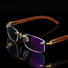 Çerçevesiz ahşap altın gözlük çerçeve erkekler hafif optik jant gözlük çerçeveleri marka tasarımcı reçete miyopi gözlük