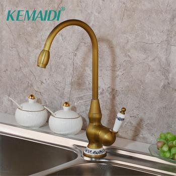 KEMAIDI Kitchen Sink Faucets Retro Brass Antique Bronze Single Handle Kitchen Basin Faucets Deck Mounted Hot&Cold Water Mix Tap