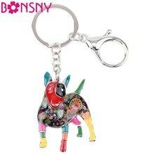 Bonsny Enamel Alloy Bull Terrier Dog Key Chain Keychains Ring For Women Girls Car Bag Pendant Holder Unique Animal Jewelry Charm