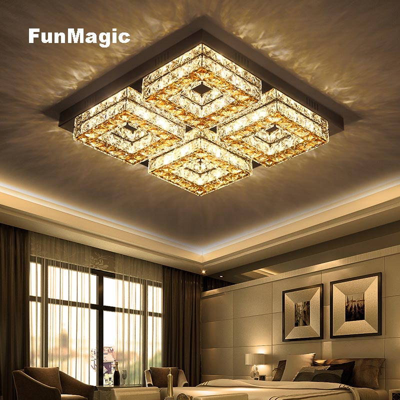 Modern Crystal Square LED Ceiling Light Corridor Surface Mounted Fixture Lighting Bedroom Hallway LED Lamp Dimming AC110V-220V