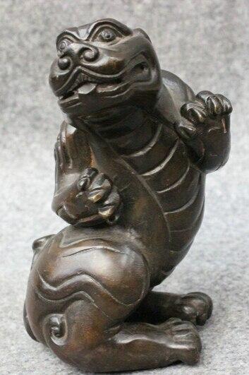 Shitou 001575 Folk Chinese Bronze FengShui Guard Foo Fu Dog Lion PiXiu Beast Statue Animals