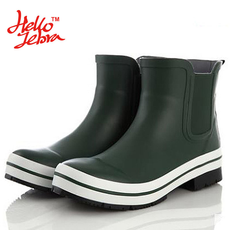 Hellozebra Women Rain Boots Lady Low Heels Solid Plain Elatic Waterproof Hoof Heels Welly Buckle Nubuck Rainboots Elastic Band hellozebra women rain boots lady high shoes platform eva boots printing leather low heels waterproof buckle wearable appliques